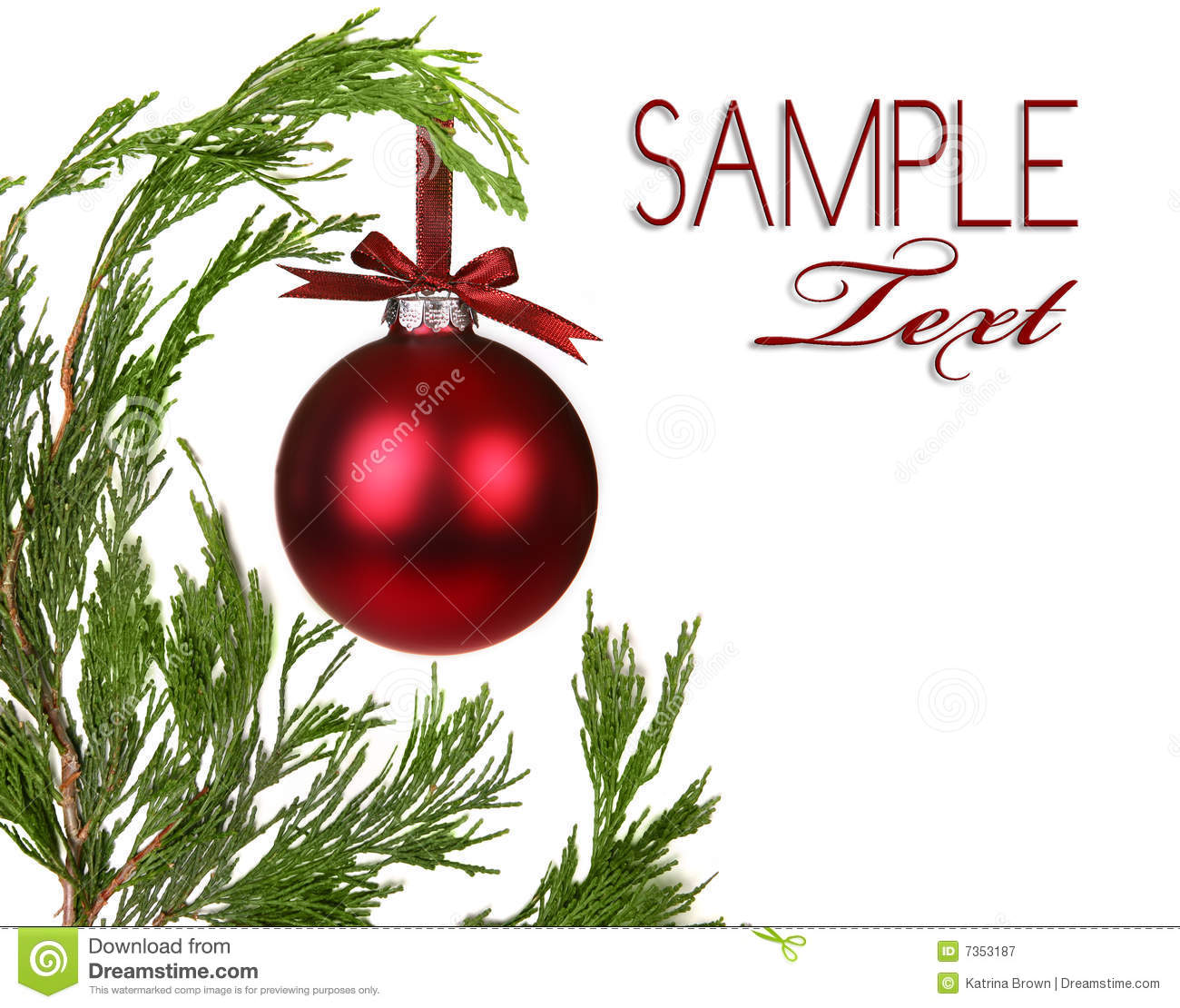 Evergreen Christmas.Evergreen Christmas Tree Branches With One Ornamen Stock