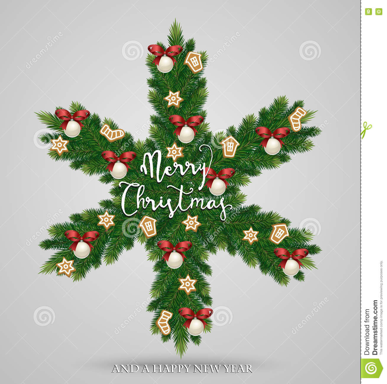Evergreen Christmas Wreath In Form Of Snowflake Stock Vector