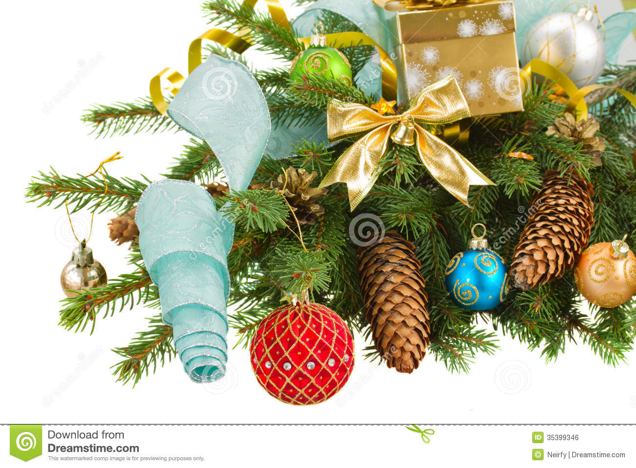 Evergreen fir tree with christmas decorations royalty free for Fir cone christmas tree decorations