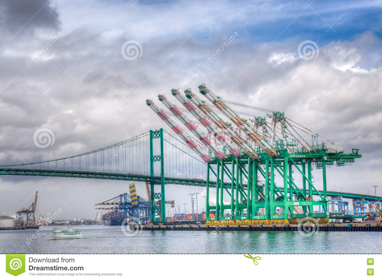 Evergreen Marine Corporation Container Cranes at Port of Los Angeles