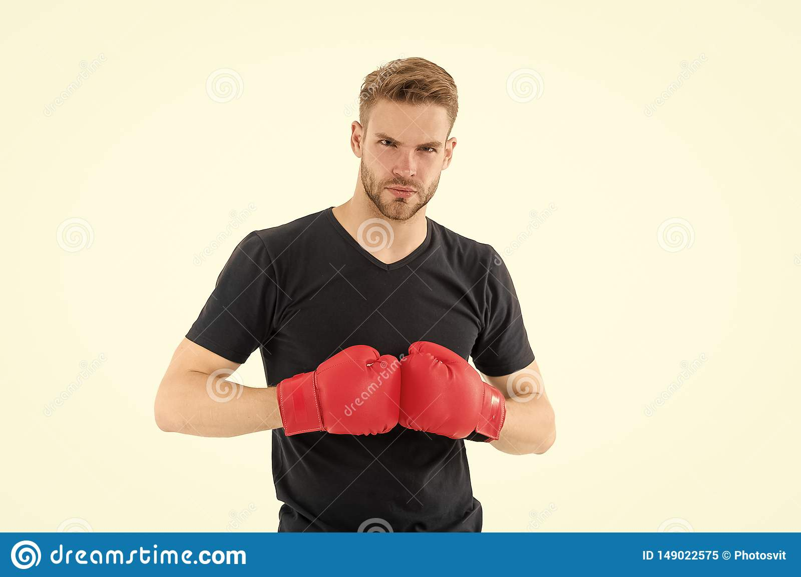 Every day as struggle. Sportsman boxer with gloves. Boxing concept. Man athlete boxer concentrated face with sport