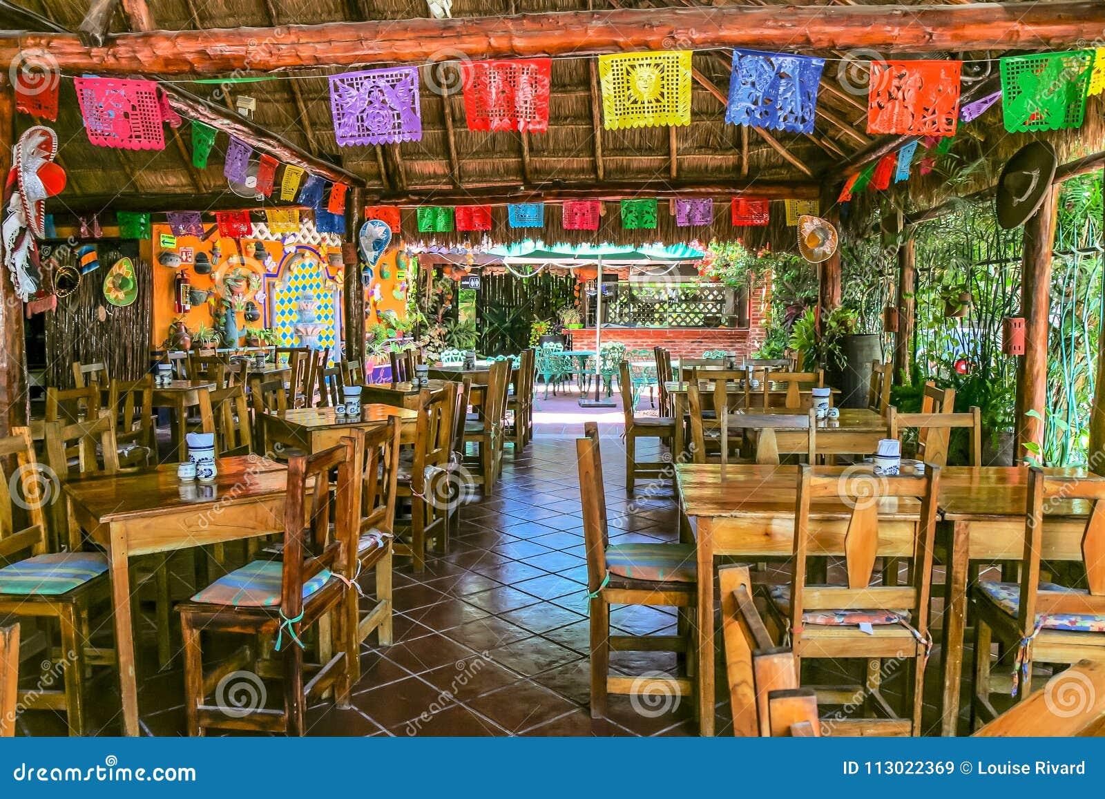 Playa Del Carmen Restaurant Colourful Decoration Editorial