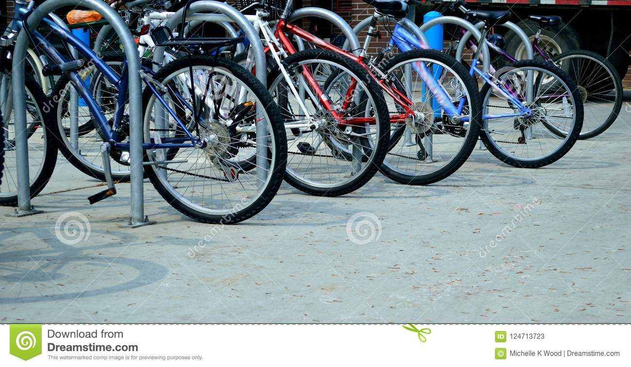 Parked Bicycles on campus back to school