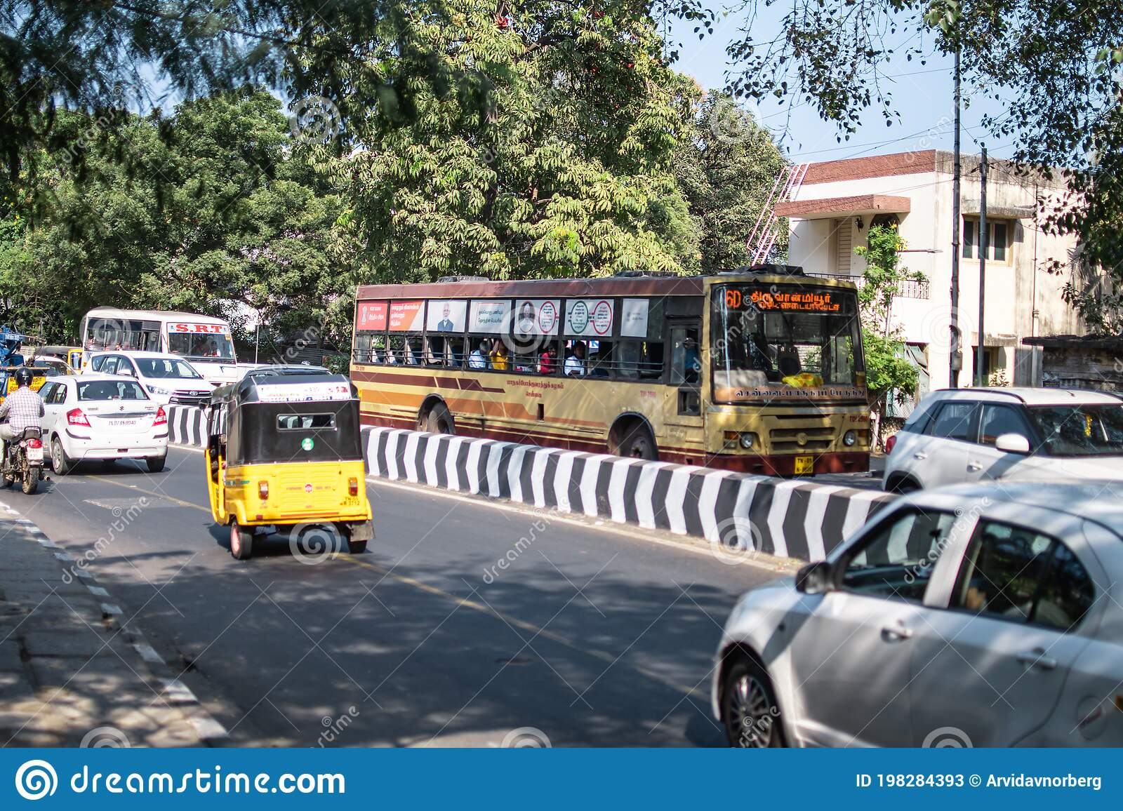 Everyday Traffic On An Asphalt Road In Chennai Tamil Nadu India Editorial Stock Photo Image Of Building Business 198284393
