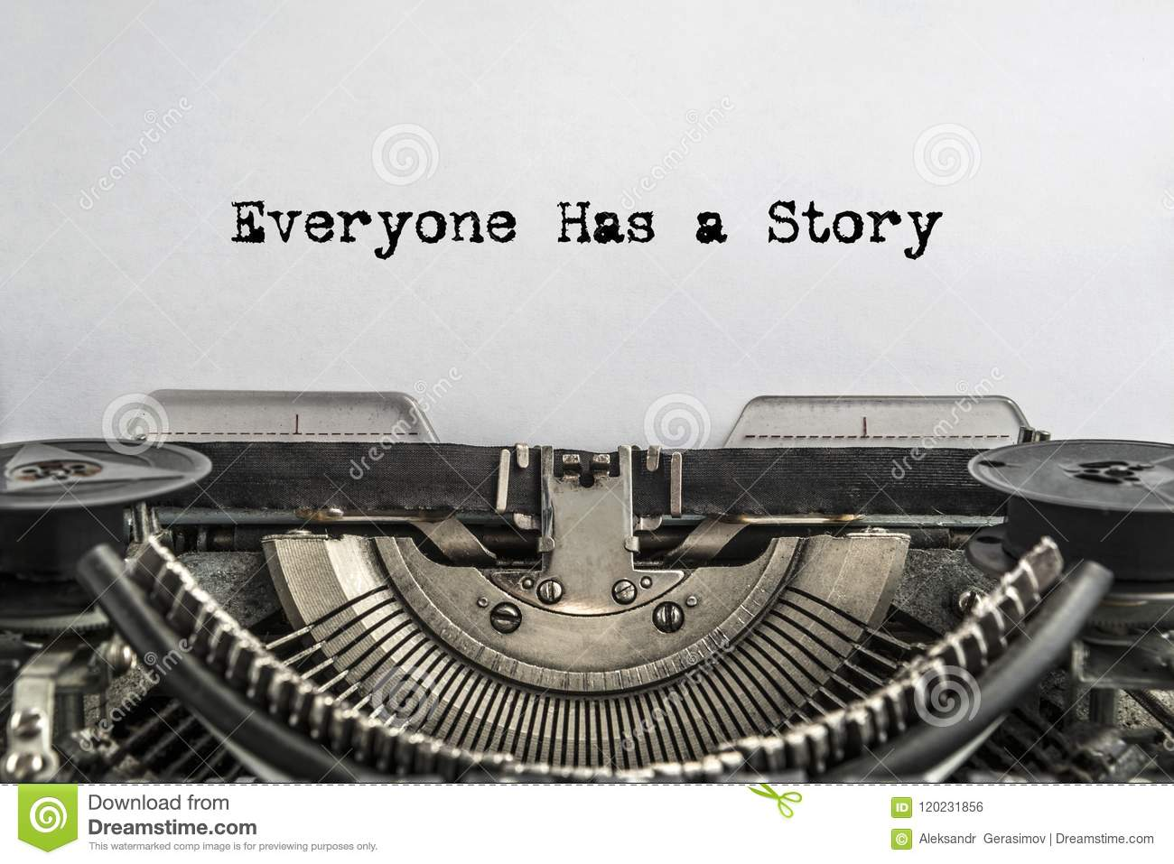 Everyone has a Story, typed words on a vintage typewriter.