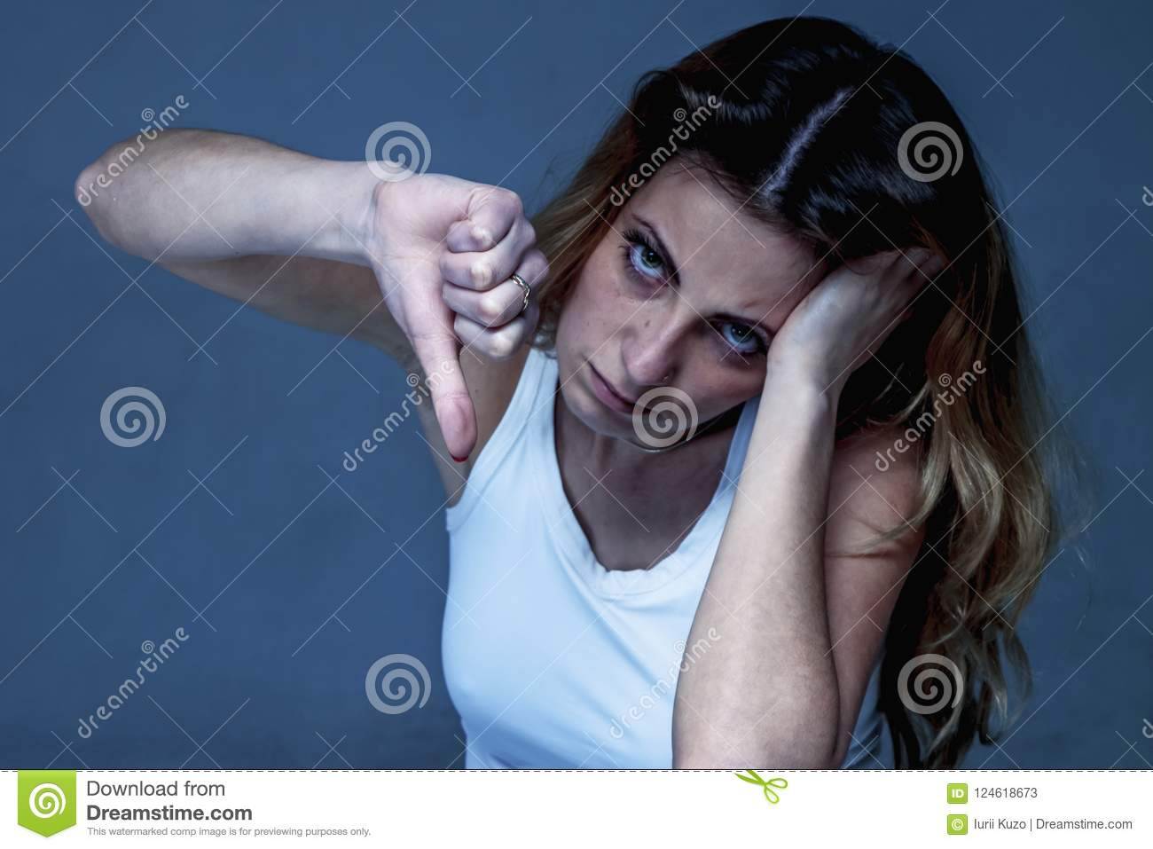 Everything Is Bad  Woman Showing Her Thumb Finger Down As