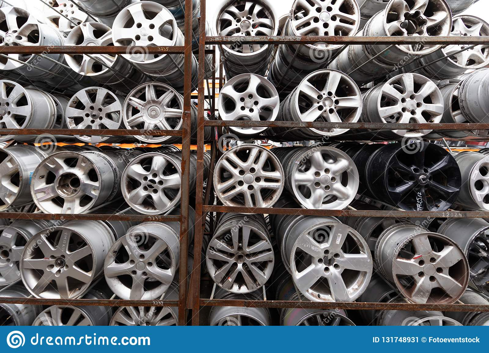 Auto Parts Market Car Wheels Are On The Ground Stock Image Image
