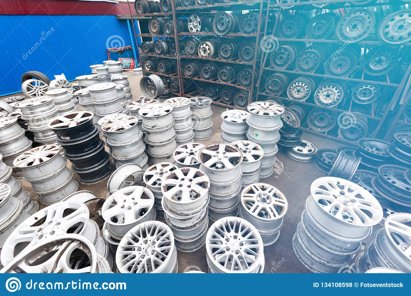 Auto Parts Market Car Wheels Are On The Ground Stock Photo Image