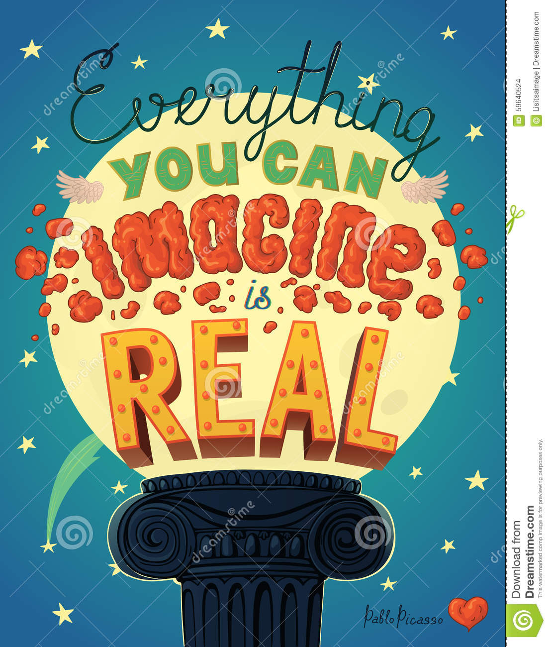 3ffd64cc9d Everything You Can Imagine Is Real Quote Poster. Illustration ...