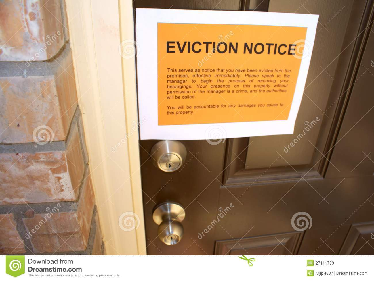 Eviction Notice Stock Photos Image 27111733