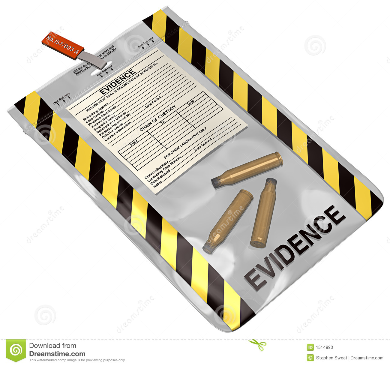 3D illustration on white, of an evidence bag containing three bullet ...