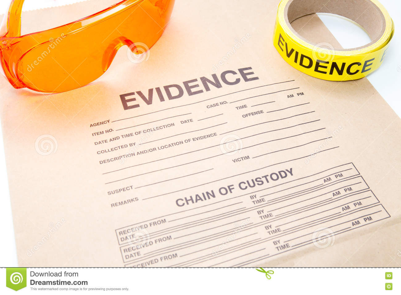 Evidence Bag With Forensic Tool For Crime Scene Investigation Stock Image Image Of Investigation Glasses 66622623