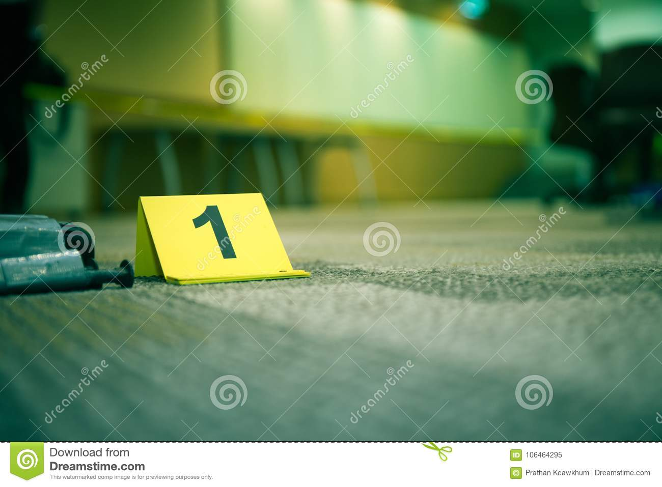 Evidence marker number 7 on carpet floor near suspect object in