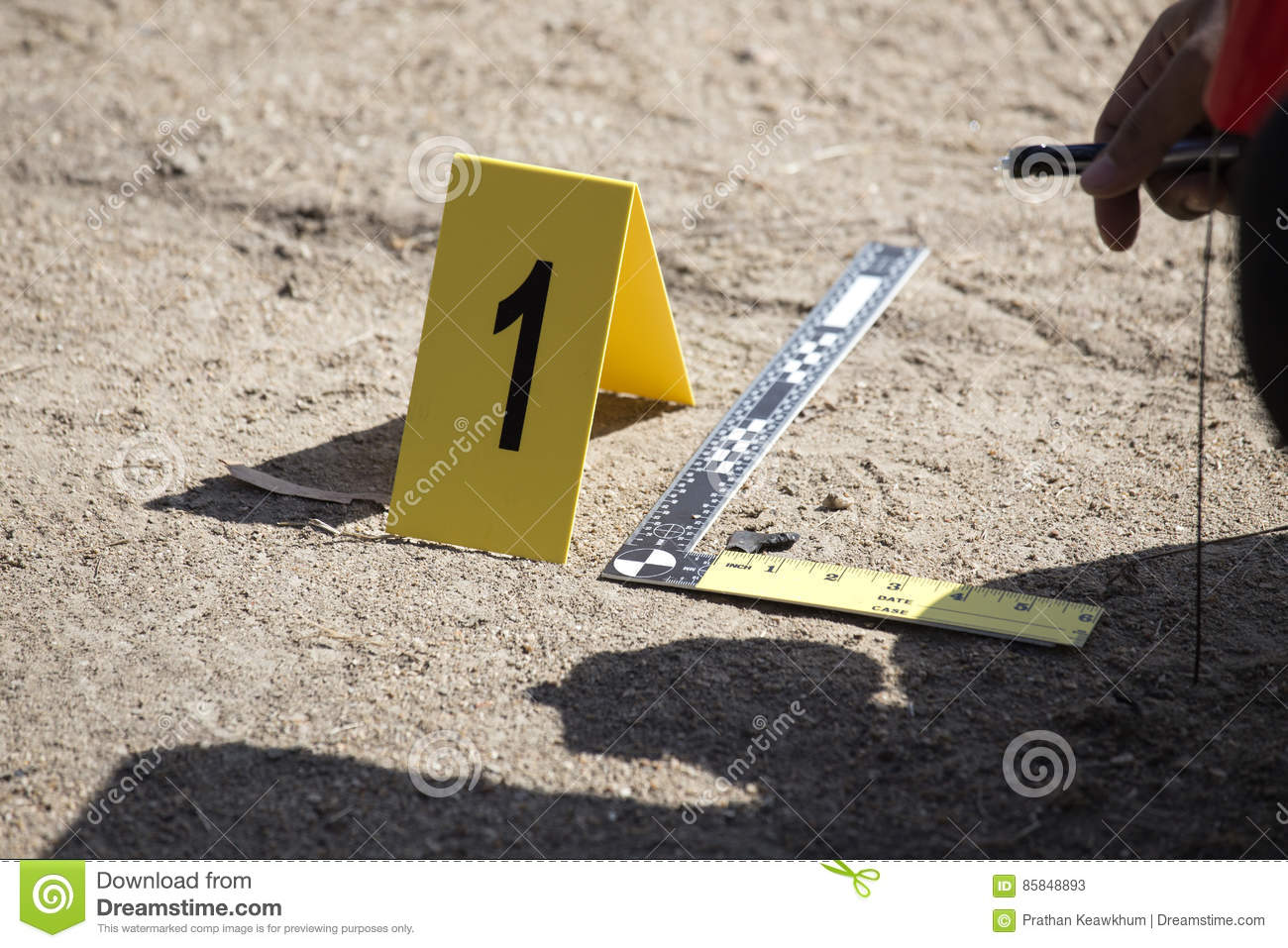 Evidence marker and ruler scale of evidence with law enforcemen