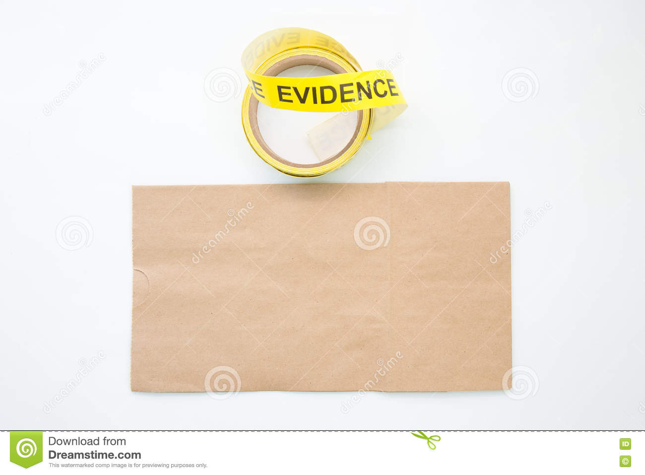 evidence marker tape and paper bag in crime scene isolated on white background