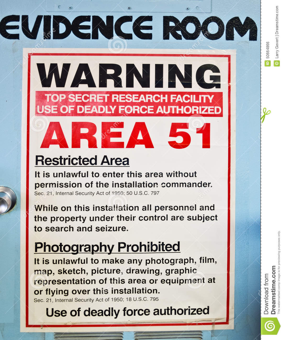 Evidence Room, Area 51 Stock Photo - Image: 50664866
