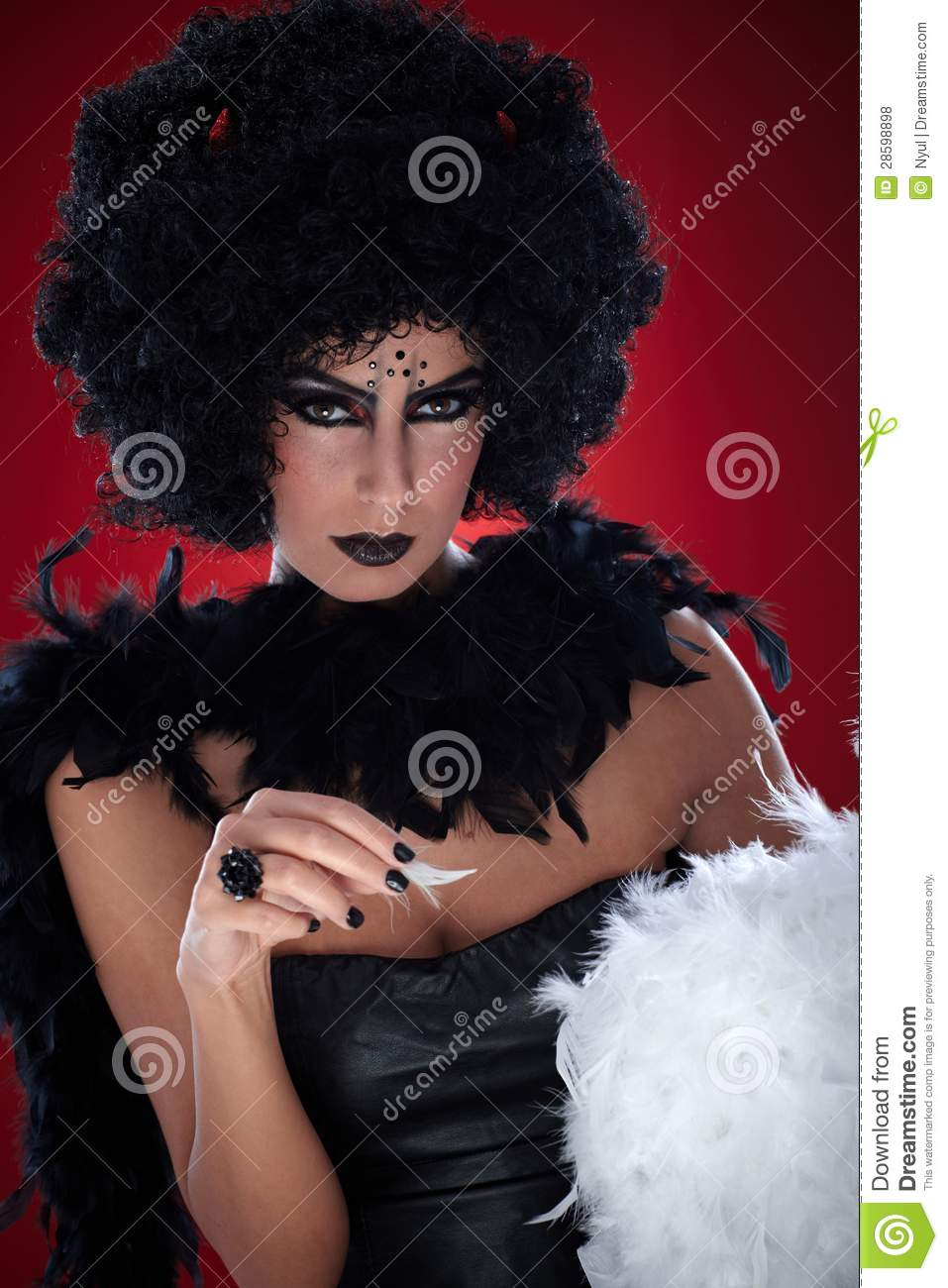 Evil with angel feathers stock photo image of make curly 28598898 - Free evil angel pictures ...