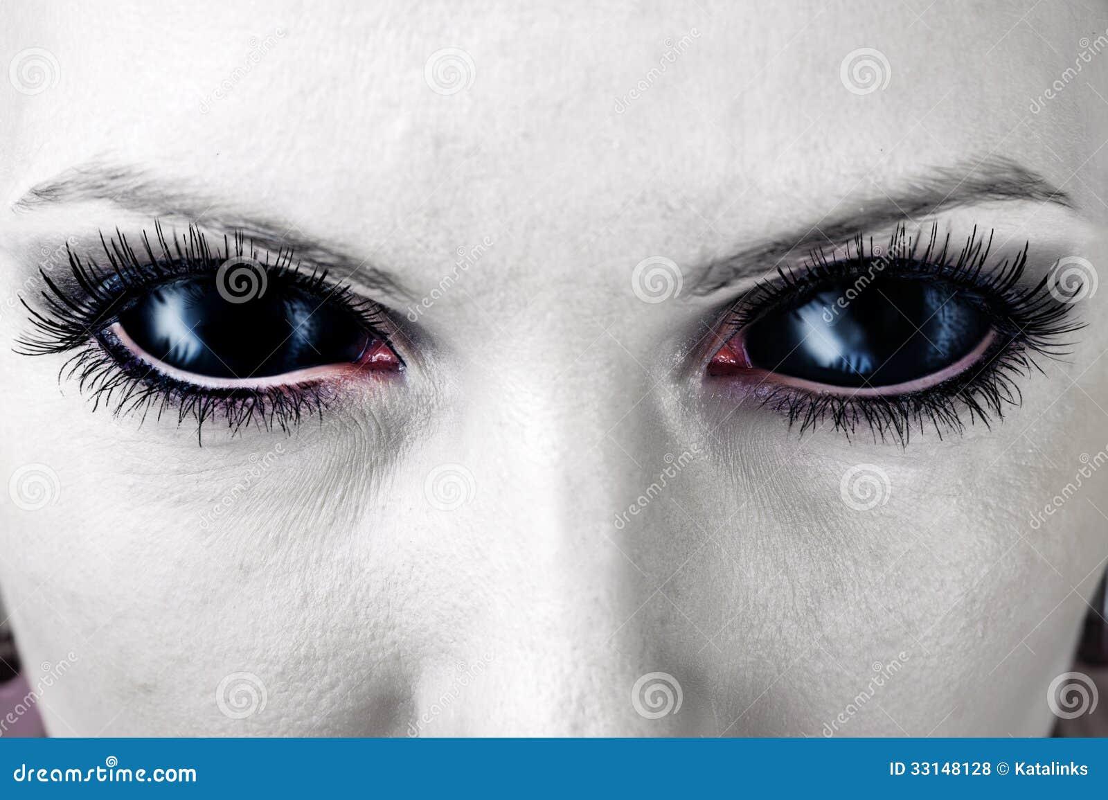 Evil Black Female Zombie Eyes Stock Photo Image Of Dirt Dark