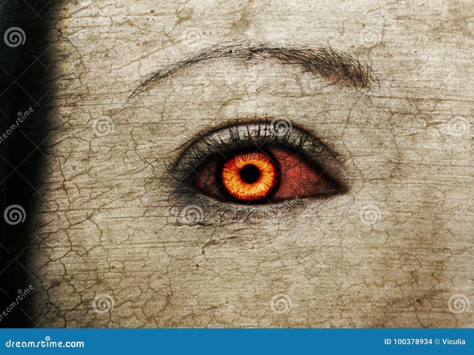 Evil Bloody Female Zombie Eyes Stock Photo Image Of Beauty Iris