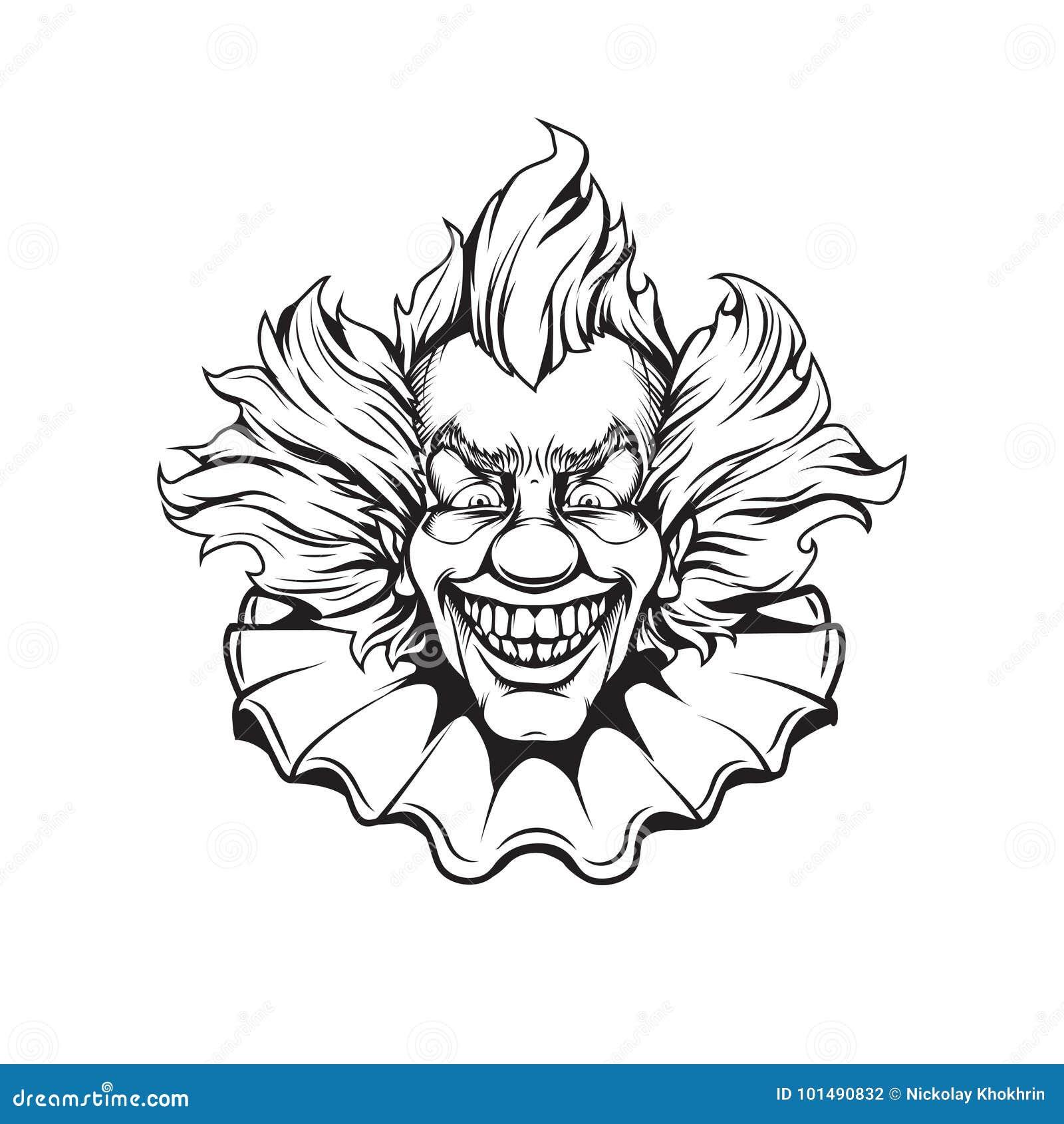 Evil Clown Portrait Adult Coloring Page Stock Illustration