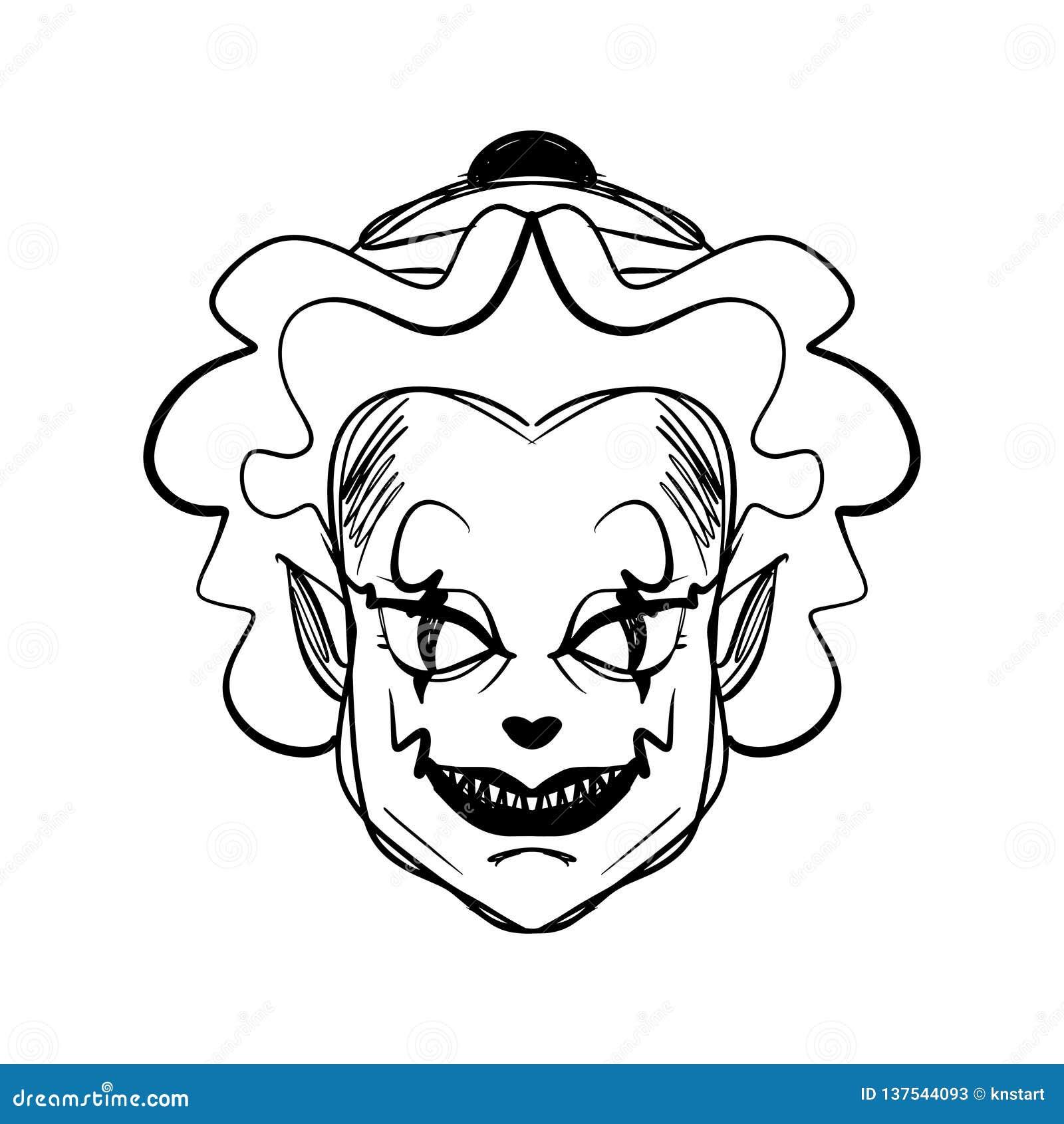 Evil Clown Art Halloween Mask Illustration Stock Illustration