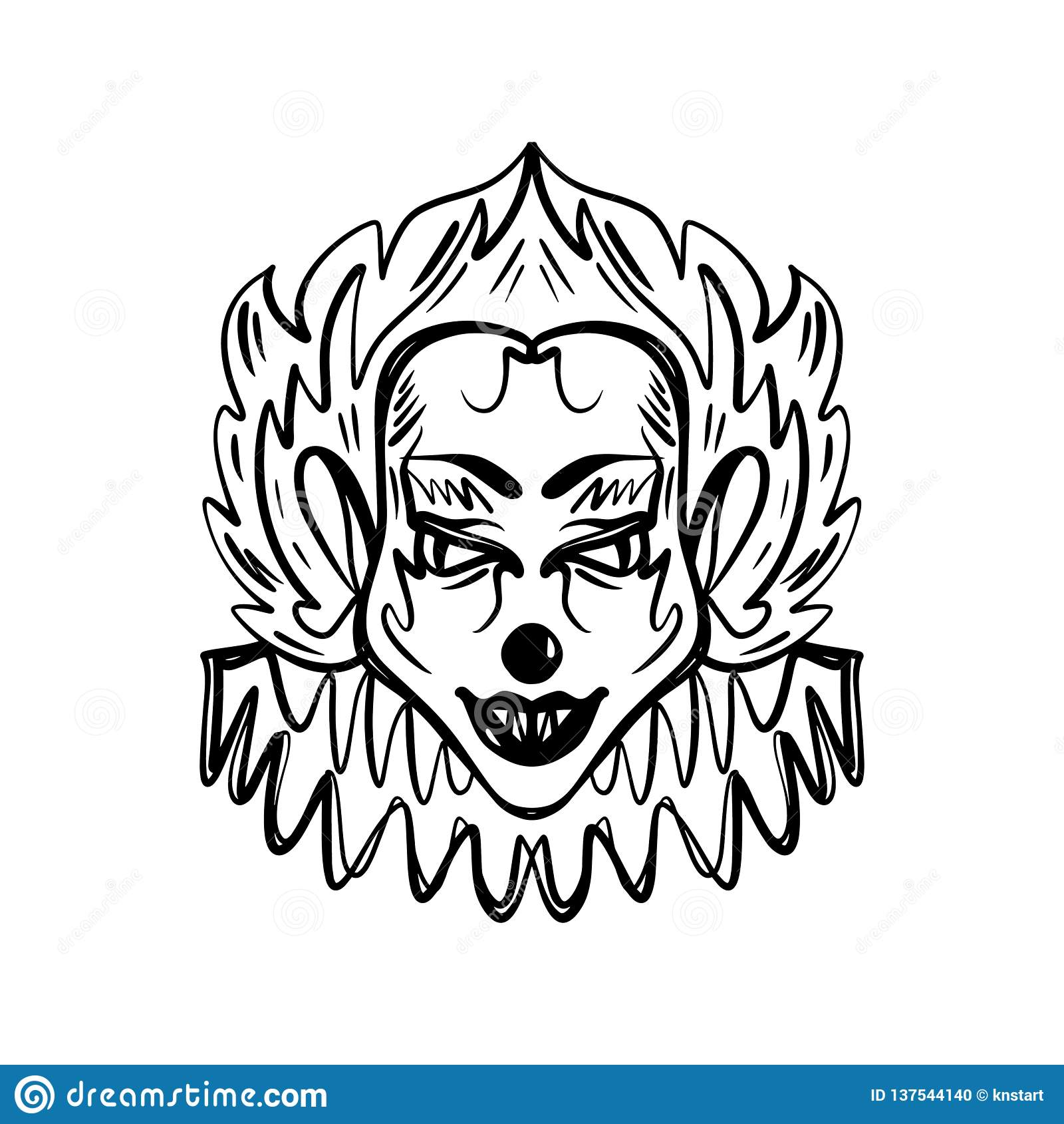 Evil clown art. Halloween mask illustration