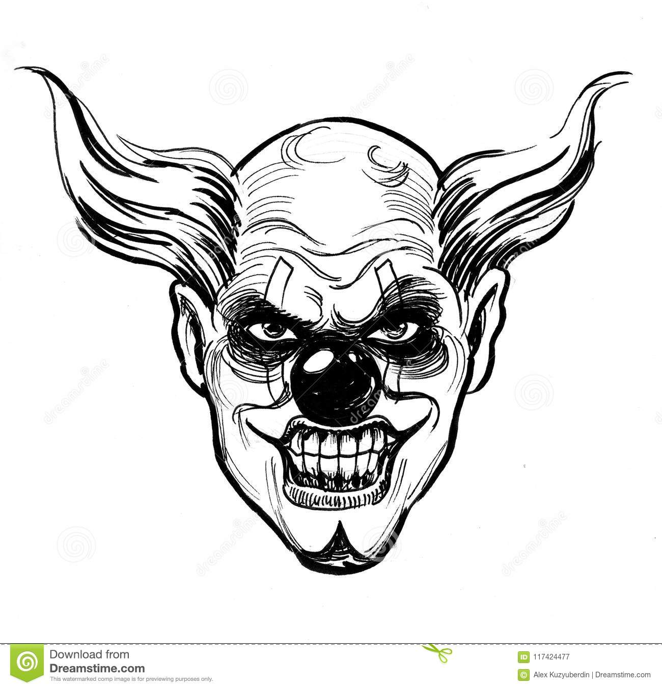 Evil Clown Face Drawing