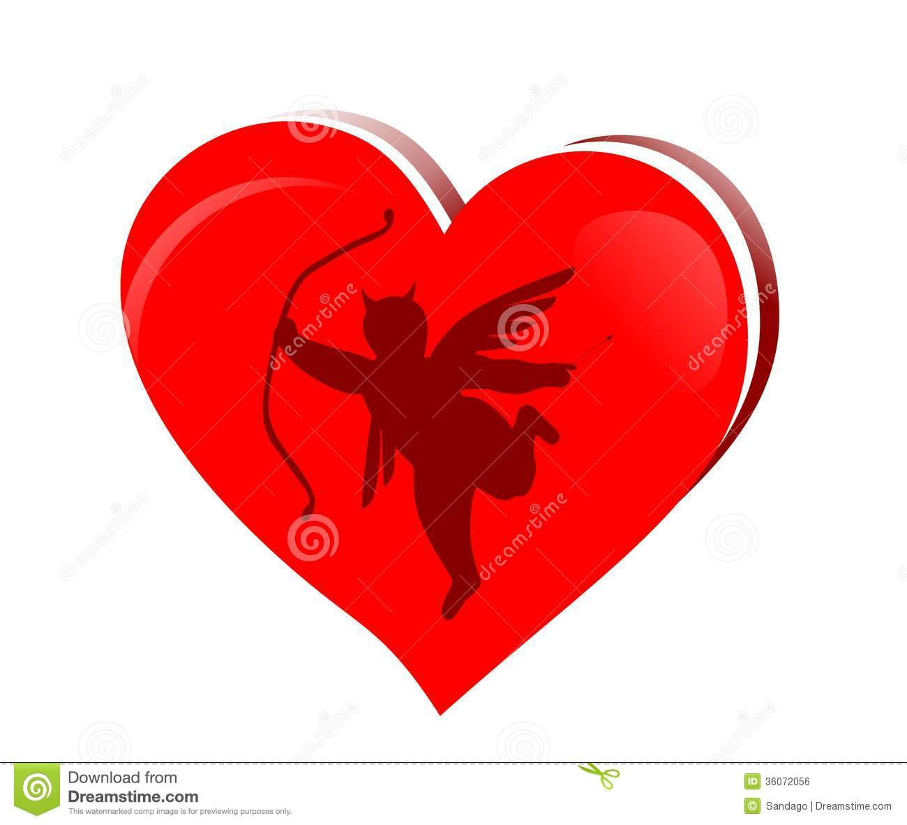 Evil cupid with heart stock vector. Illustration of ...
