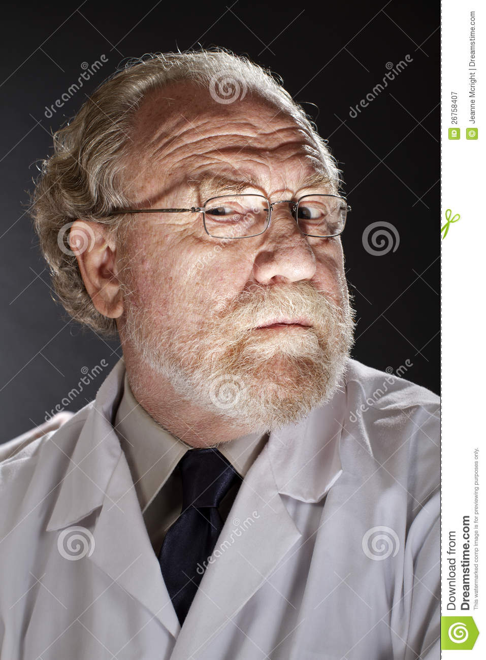 evil doctor with sinister expression royalty free stock