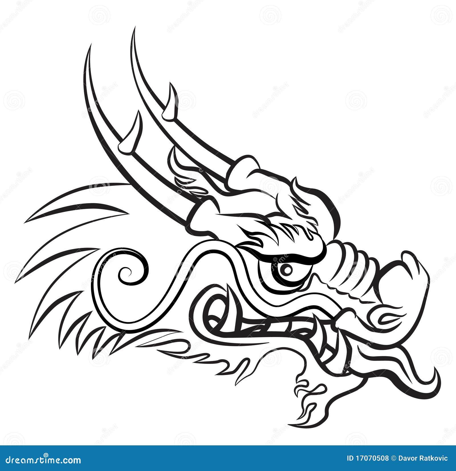 Dessin Dragon Japonais evil dragon stock vector. illustration of head, illustration - 17070508