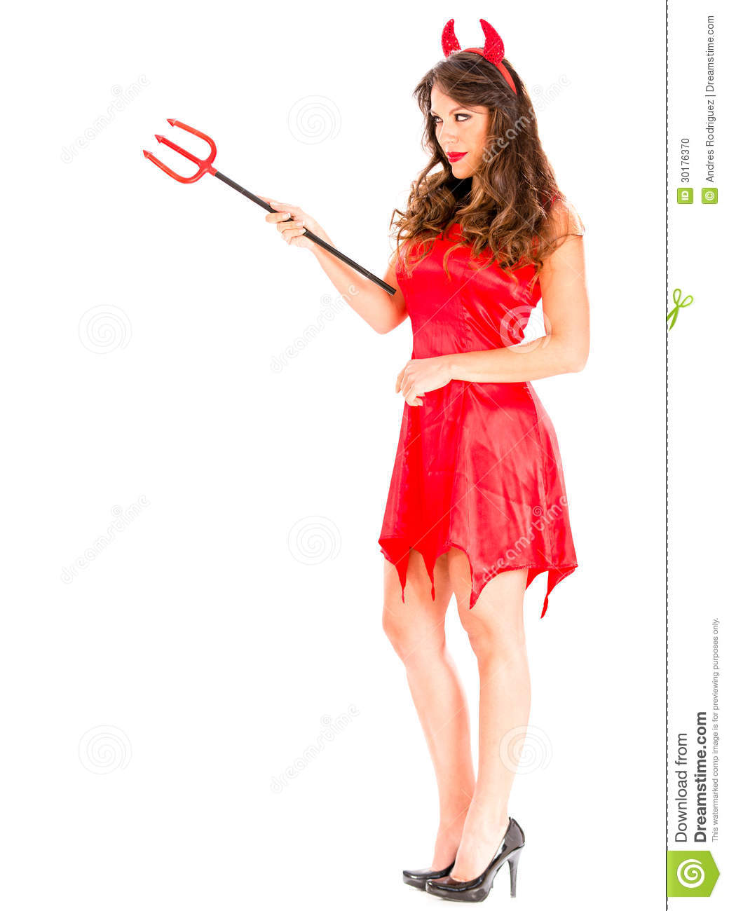 Evil female devil with a pitchfork - isolated over a white background.