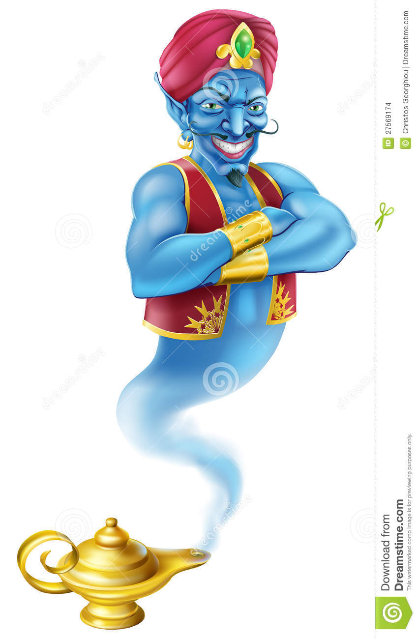 Evil Genie And Magic Oil Lamp Stock Images Image 27569174