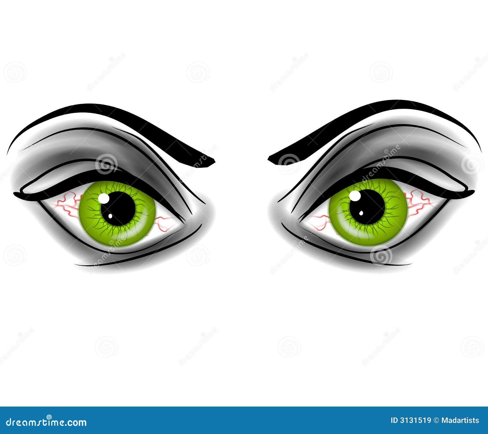 Evil Green Devil Demonic Eyes Stock Illustration ...