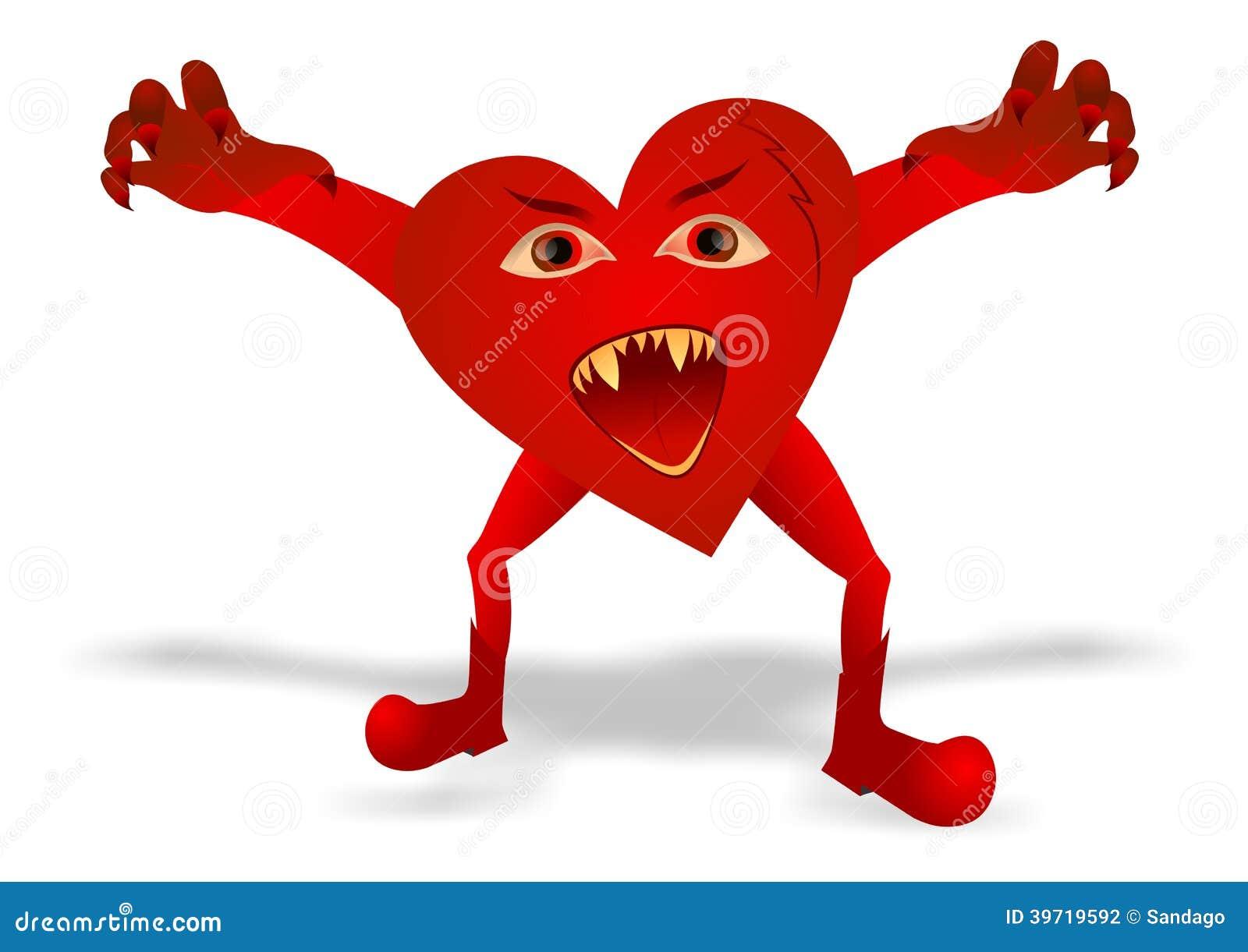 Evil heart stock vector. Illus...