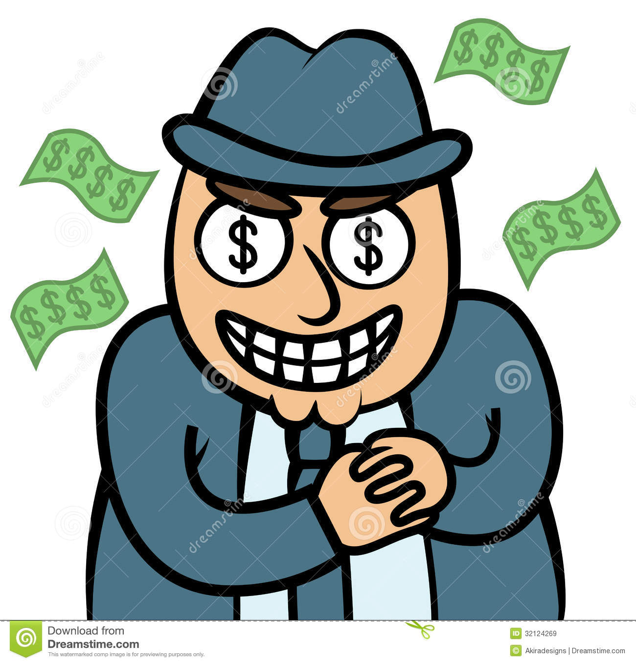 Evil Money Hungry Man In Suit Royalty Free Stock Images