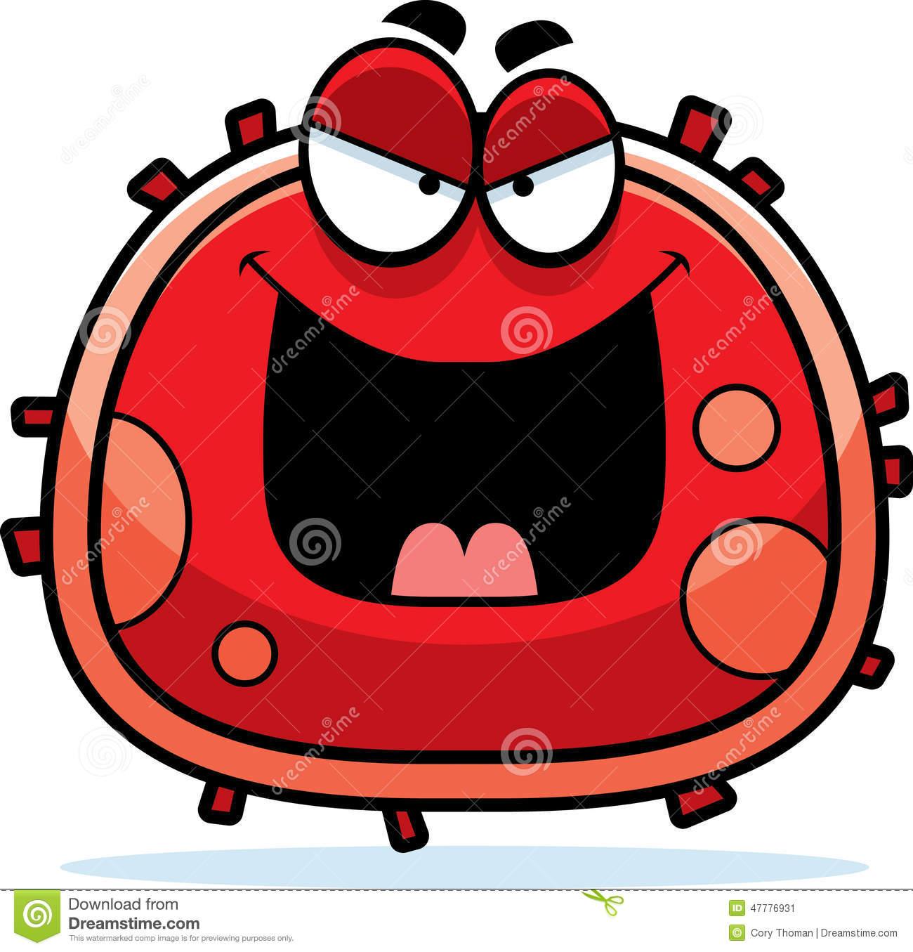 Evil Red Blood Cell stock vector. Illustration of body ...