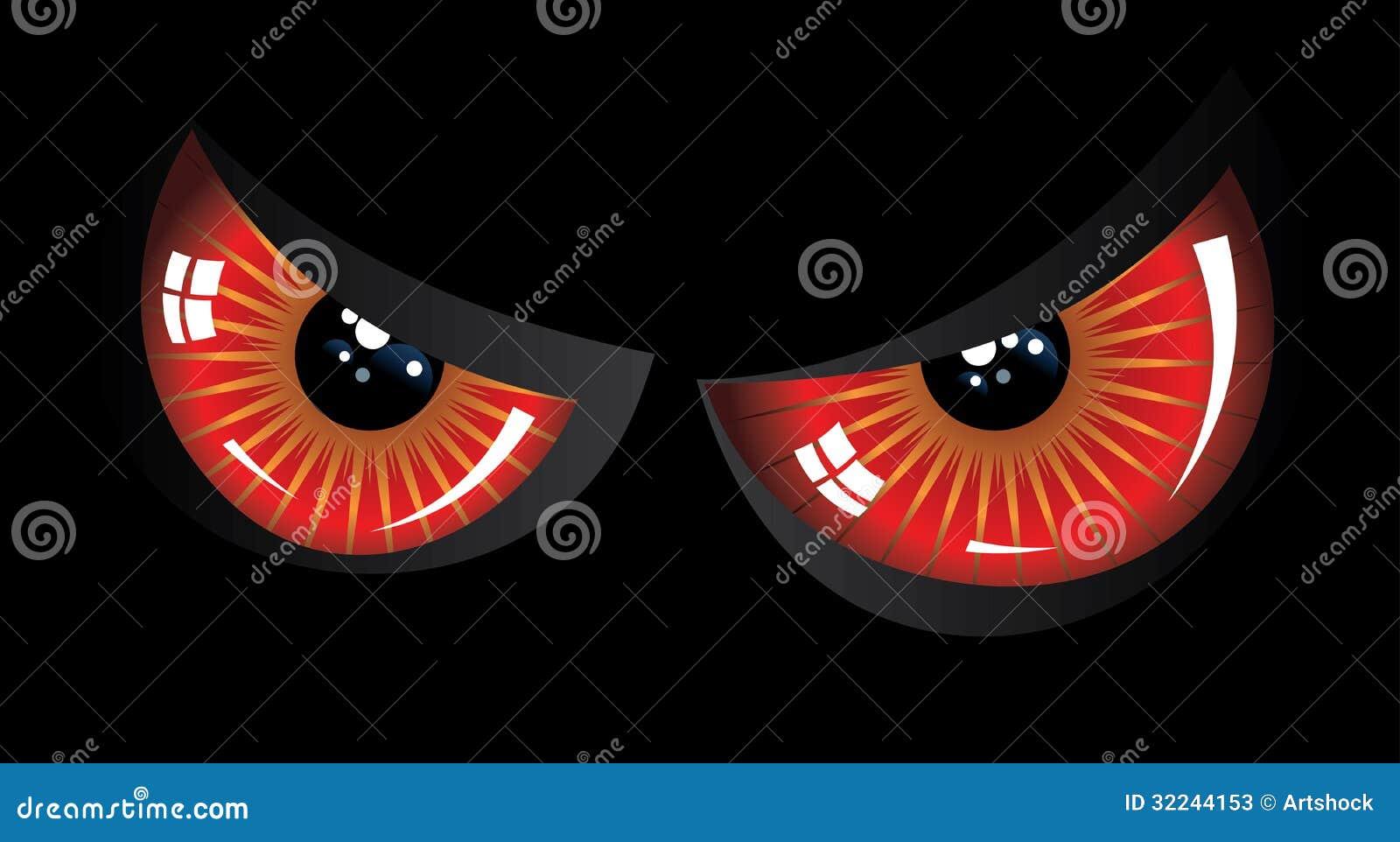 Red Eyes In Black Background