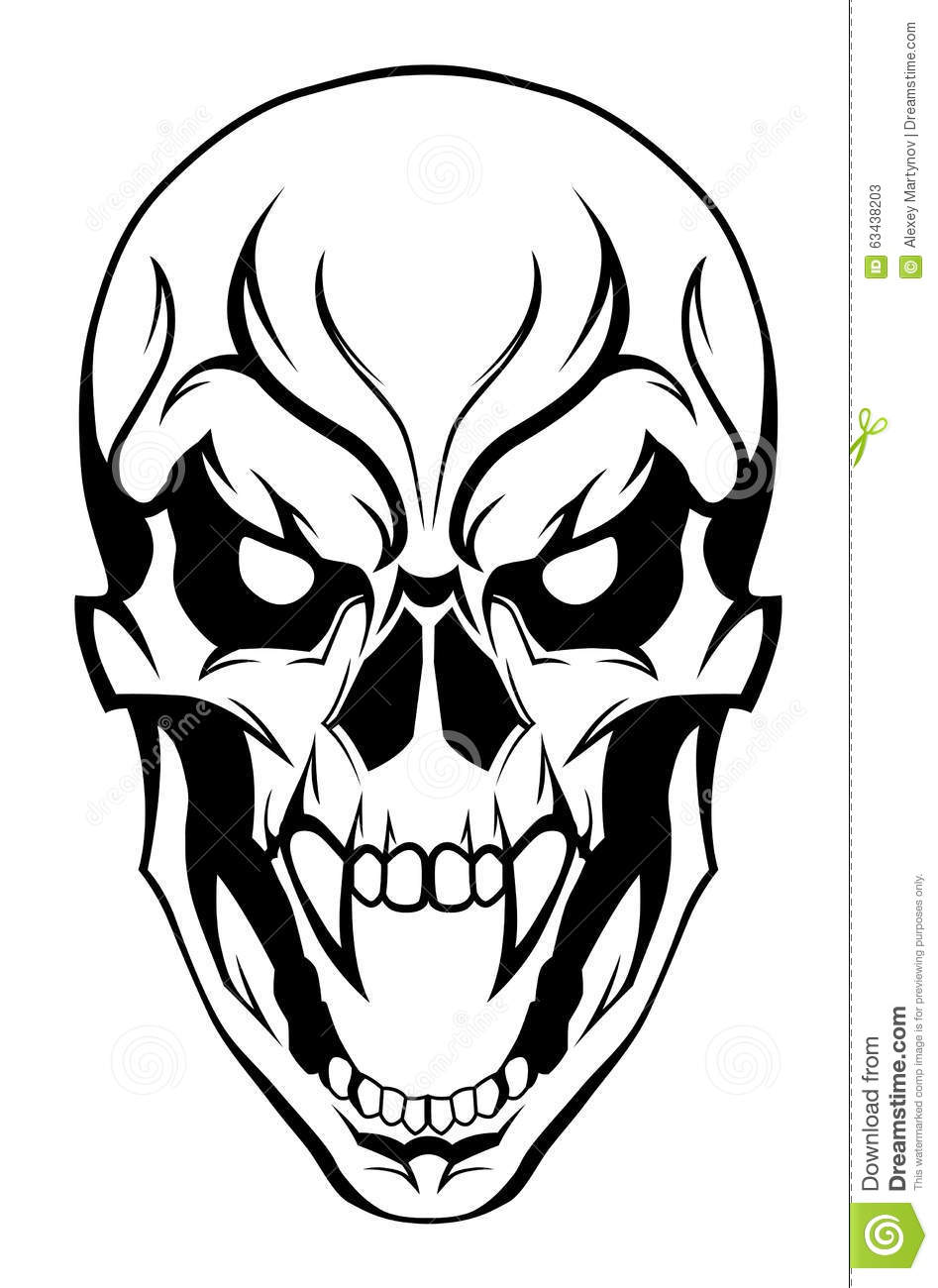 4ed7fbc06 Evil skull stock vector. Illustration of fear, scary - 63438203