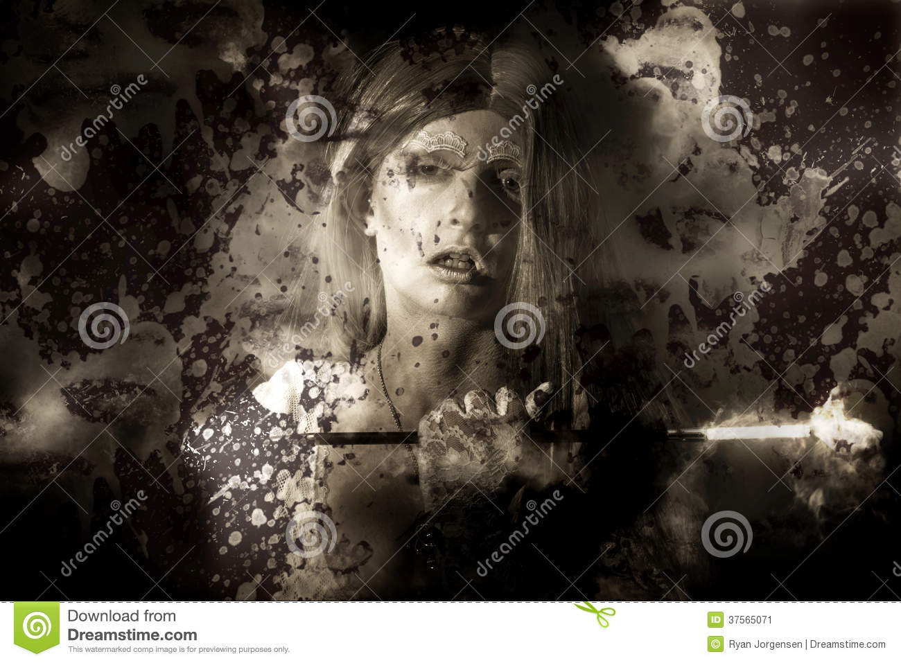 Evil Vampire Woman Looking Into Bloody Mirror Stock Image ...
