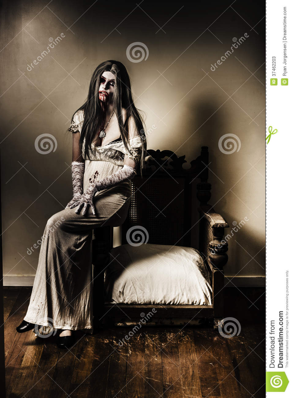 Evil Vampire Woman In Old Grunge Haunted House Stock ...