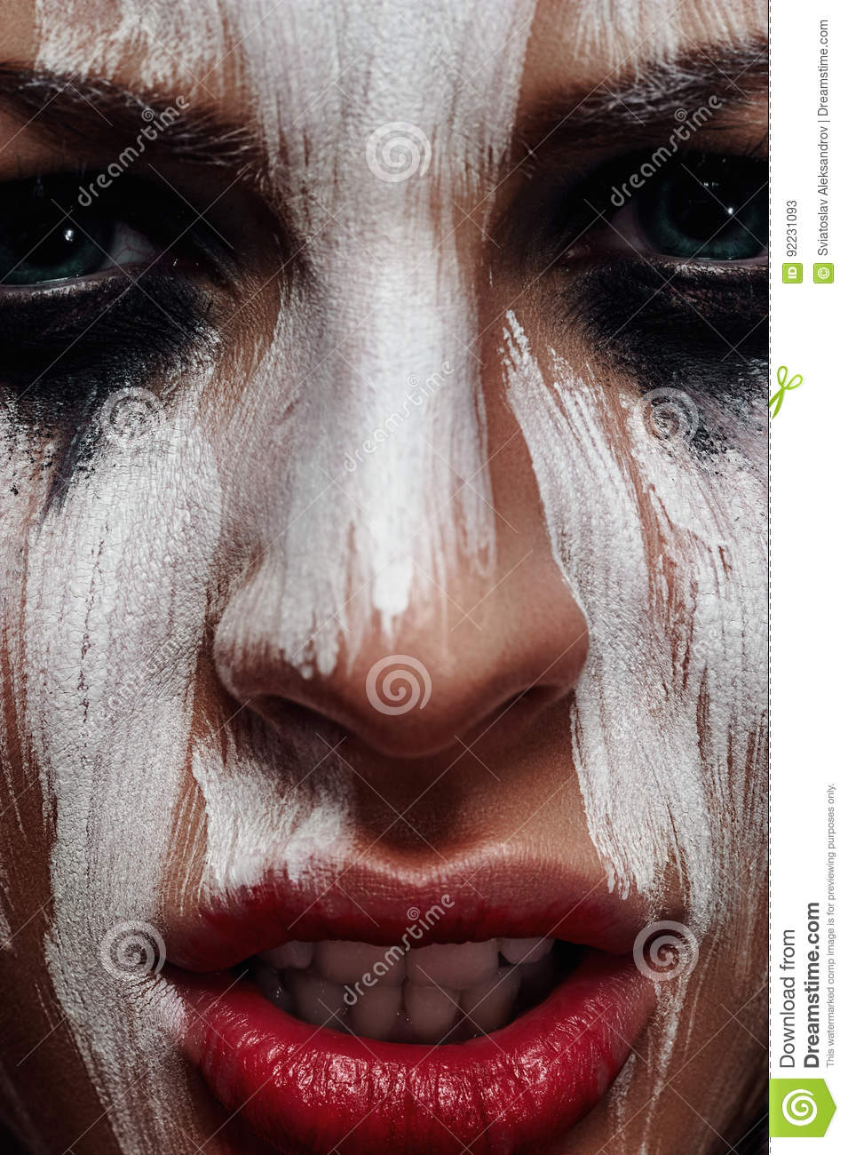 evil woman with aborigine halloween makeup stock image - image of