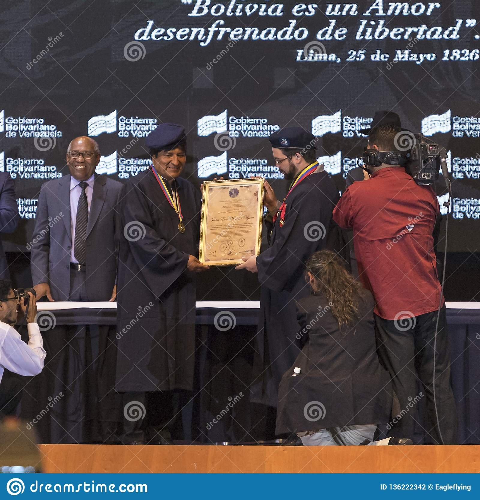 Evo Morales Ayma, President of the Plurinational State of Bolivia, delivers a speech