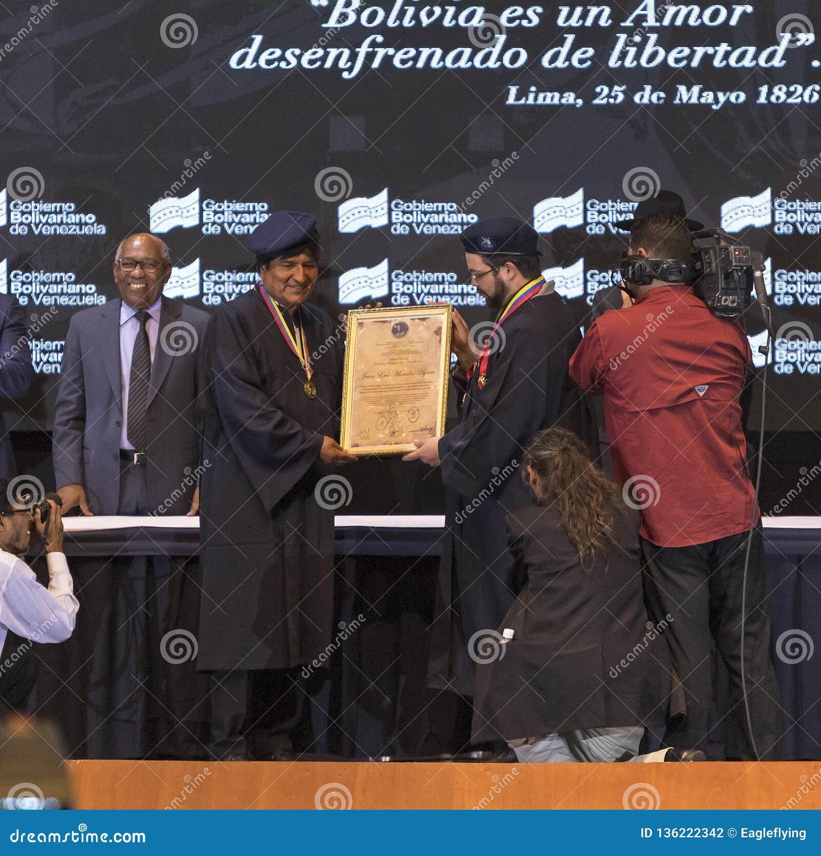 Evo Morales Ayma, presidente dello stato plurinazionale della Bolivia, pronuncia un discorso