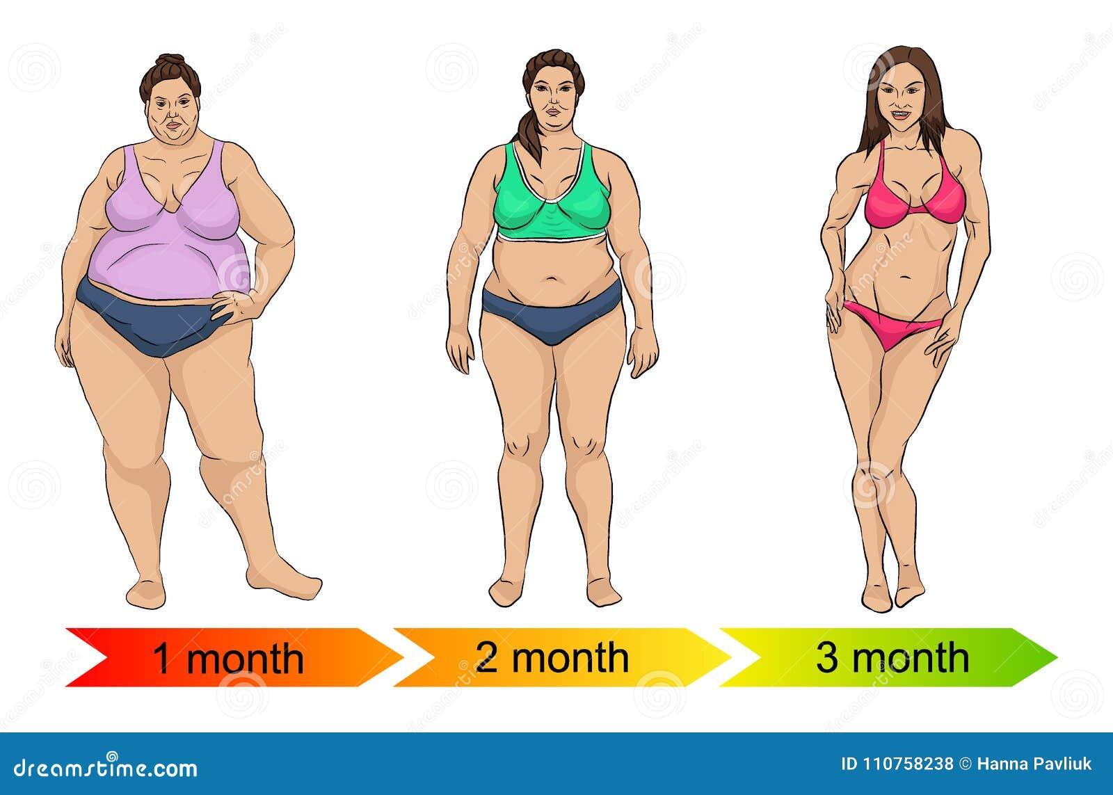 Evolução do corpo fêmea de gordo a diluir