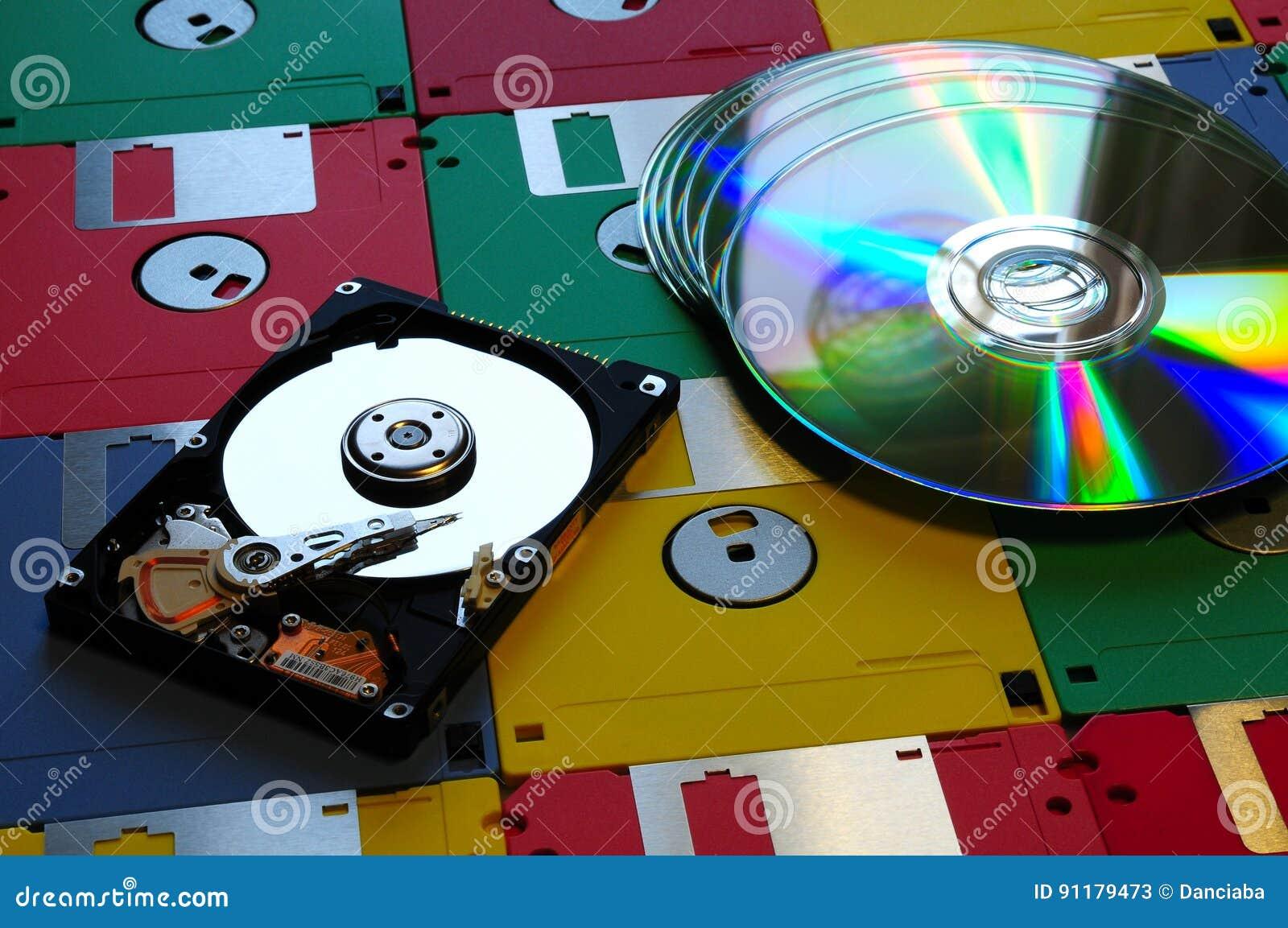 Evolutie van digitale opslagsystemen Gekleurde Diskette met de moderne geopende Aandrijving van DVD en van de Harde schijf