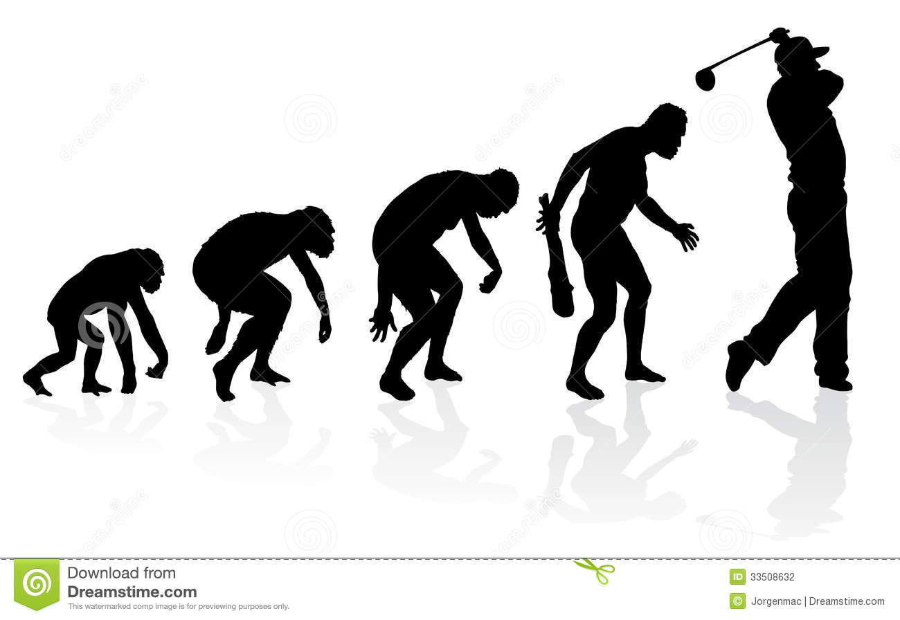 ... the evolution of a male from ape to man to Golf player in silhouette