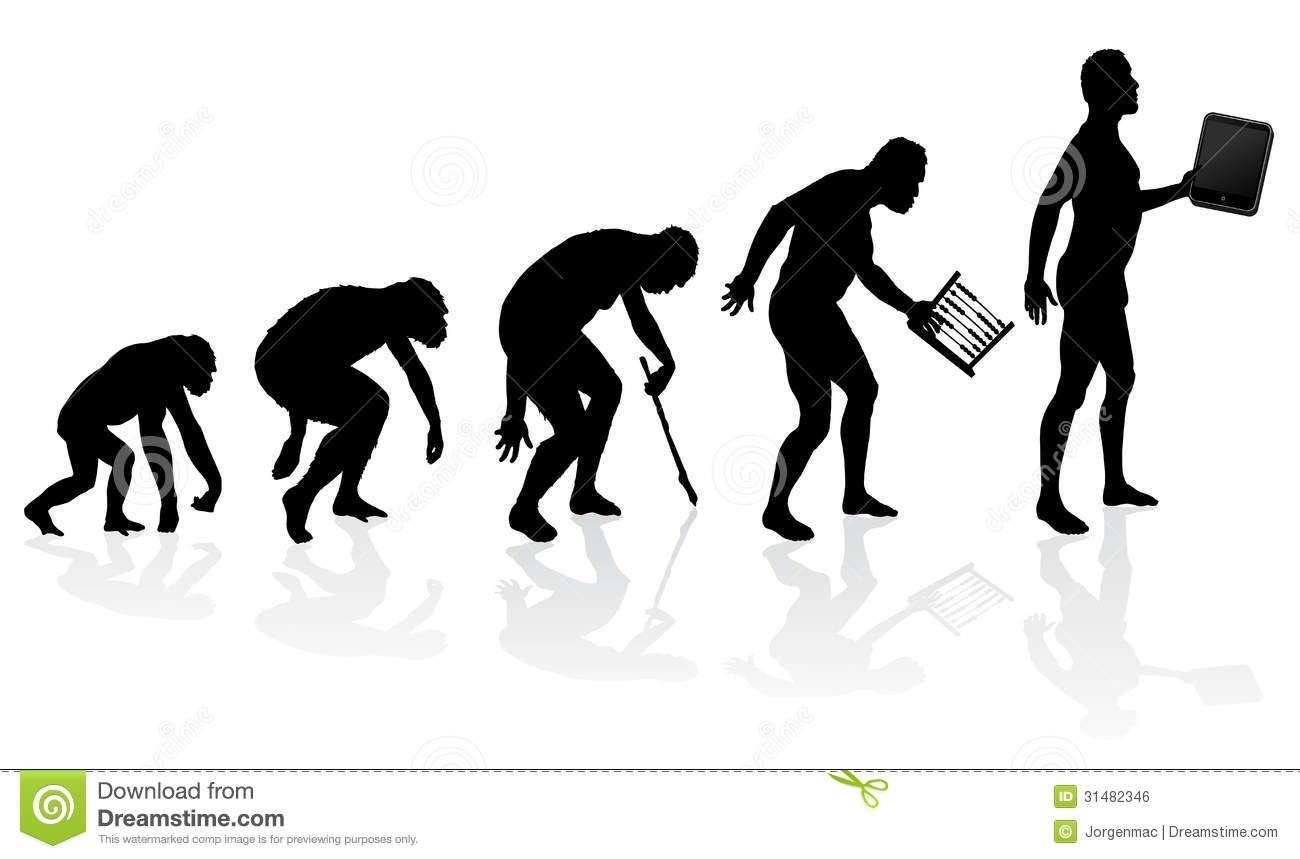 Evolution Of Man And Technology Royalty Free Stock Image - Image ...