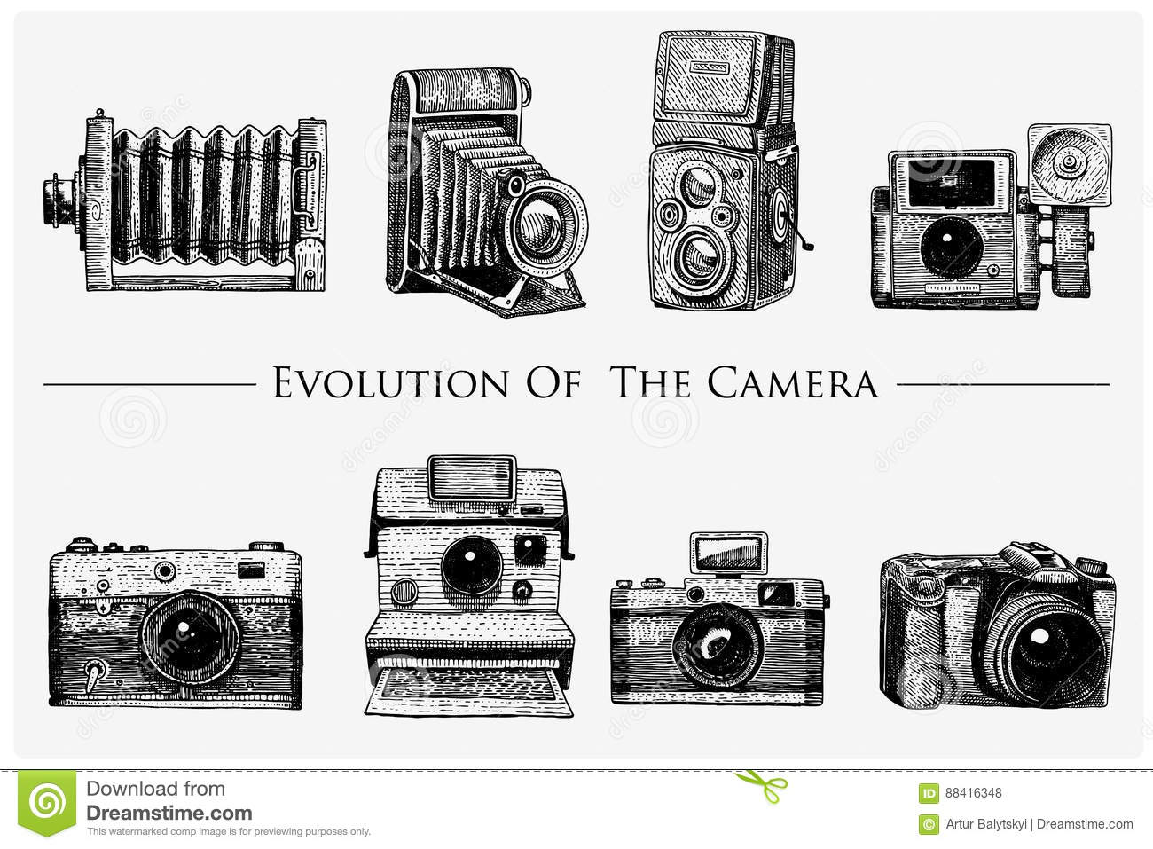 Evolution of the photo, video, film, movie camera from first till now vintage, engraved hand drawn in sketch or wood cut