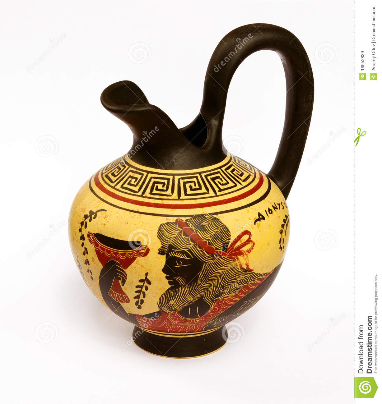Ewer With A Picture Of Ancient Greek God Dionysus Stock