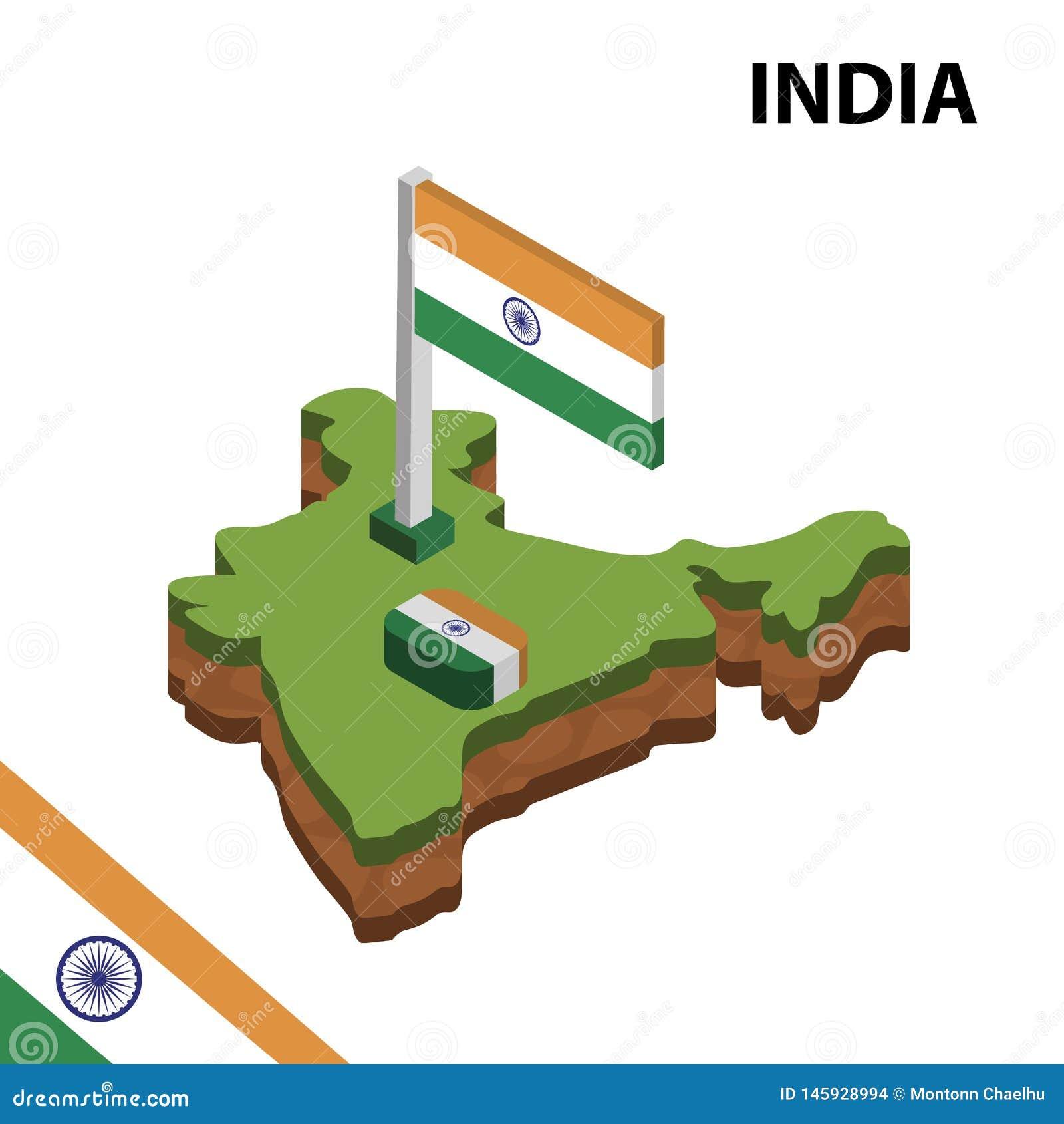 Ewidencyjna graficzna Isometric mapa i flaga INDIA 3d isometric wektorowa ilustracja